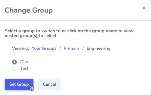 Group Mgmt picker popup group select