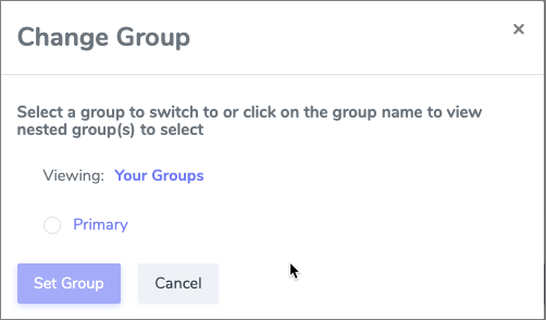 Group Mgmt picker popup